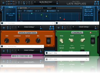 Blue Cat's Late Replies - The plug-in includes 25 built-in premium audio plug-ins that can be inserted anywhere in the signal path.