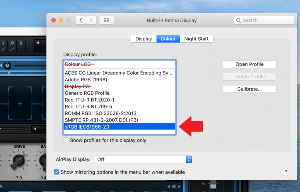 Select the sRGB Color Profile