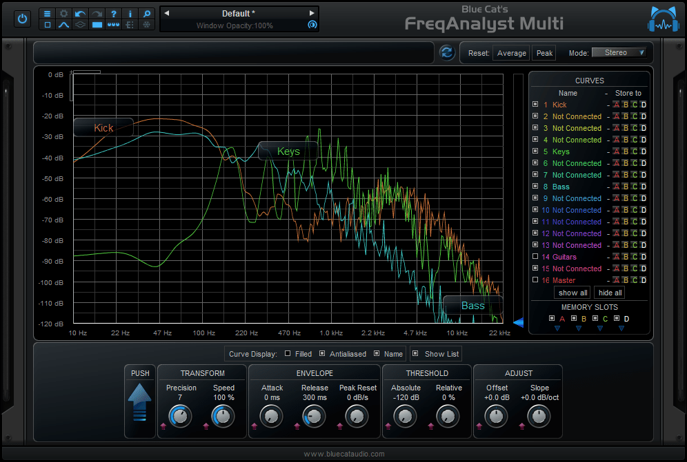 A unique multi-track spectral analysis tool for mixing or mastering.