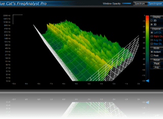 Blue Cat's FreqAnalyst Pro - Choose the best viewpoint to display the evolution of the spectrum in 3D