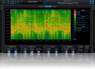 Blue Cat's FreqAnalyst Pro - The spectrogram view displays the evolution of the spectrum over time.