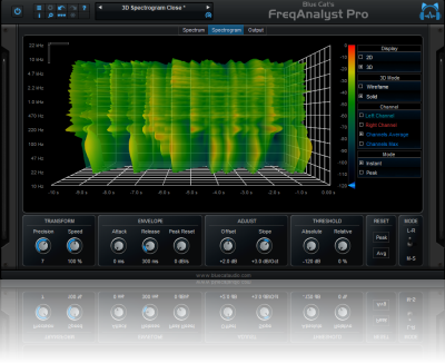 Blue Cat's FreqAnalyst Pro - Real Time Spectrum Analyzer and Audio to MIDI AU, RTAS, DX and VST Plug-in