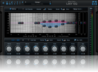 Blue Cat's Liny EQ - Selecting a greyscale spectrogram, with simultaneous dual channels display and control.