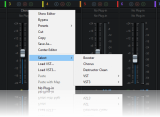 Blue Cat's MB-7 Mixer - VST hosting is simple and efficient, one click away from the main controls of the plug-in.
