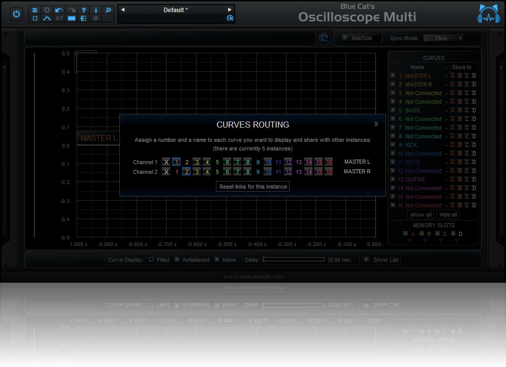Blue Cat's Oscilloscope Multi - Name and Route the waveforms to the selected output bus and share them with other instances.