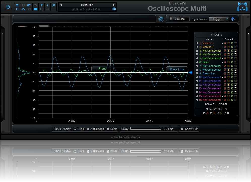 Blue Cat's Oscilloscope Multi - Trigger display mode for easier synchronization and waveform comparison.