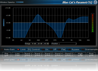 Blue Cat's Parametr'EQ - zooming capabilities let you precisely choose the EQ range