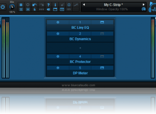 Blue Cat's PatchWork - Simple channel-strip configuration: use your favorite plug-ins to build your own channel strip.
