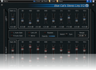 Blue Cat's Stereo Liny EQ - Two Channels Linear Phase Equalizer Plugin (VST, AU, RTAS, DX)