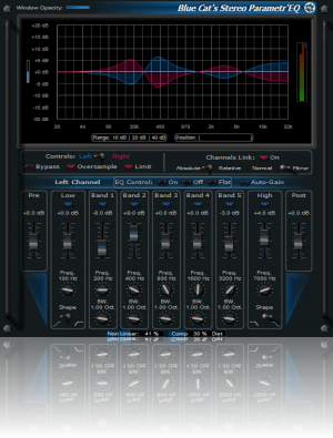 Blue Cat's Stereo Parametr'EQ - WYSIWYG Two Channels Parametric Equalizer Plugin (VST, AU, RTAS, DX)