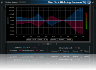 Blue Cat's Widening Parametr'EQ - WYSIWYG Mid-Side Parametric Equalizer Plug-in (VST, AU, RTAS, DX)