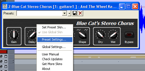 Step 05 - Select the chorus presets settings in the main menu