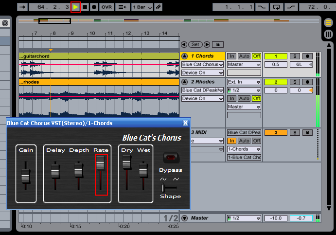 Step 10 - Hit the play button, the selected parameters are now being changed according to the source track envelope