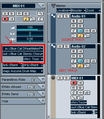 Step 08 - Setup the MIDI track input to Peak Meter, output to the Stereo Chorus VST and select 'all' channels
