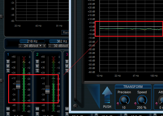 Step 10 - Adjust the MB-7 Mixer settings so that the difference curve matches the one previously stored in slot 3