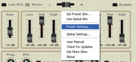 Step 05 - Open the presets settings window