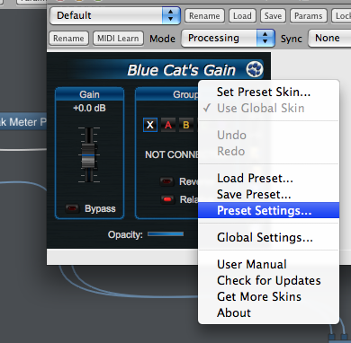 Step 08 - Open the preset settings for the gain plugin