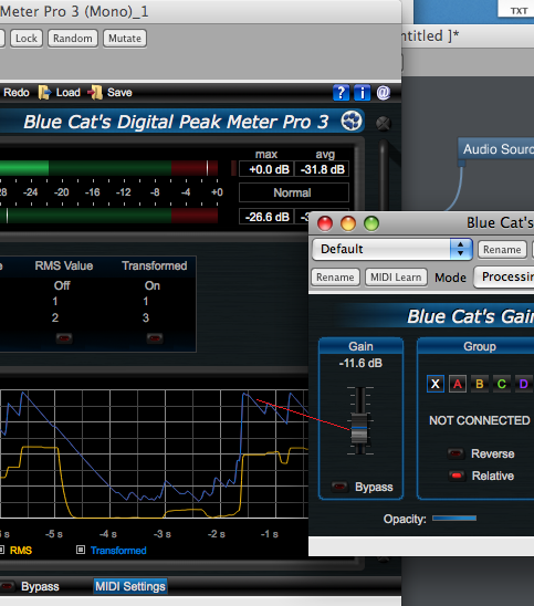 Step 10 - The gain for the second audio source is now controlled by the transformed envelope of the first audio source