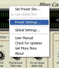 Step 02 - For each inserted Digital Peak Meter Pro, open the presets settings window