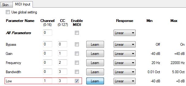 Step 11 - Enable MIDI input for the Low gain parameter and setup the same MIDI channel and number as the DPMP output (or use MIDI learn)