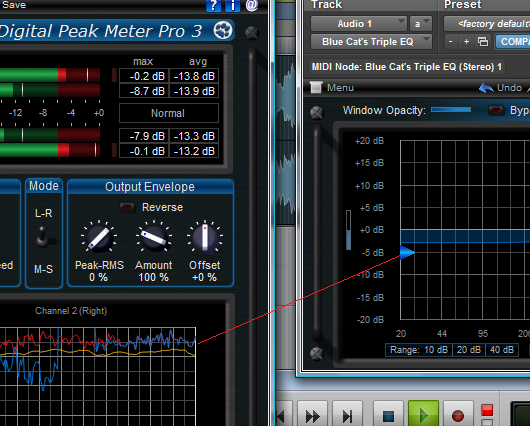 Step 12 - Hit Play - the low pass filter gain is now following the source track peak level