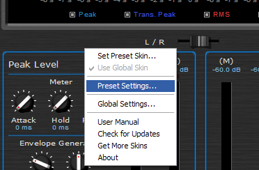 Step 02 - Open the presets settings window