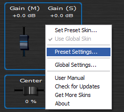 Step 07 - Open the preset settings window for the Widening Gain